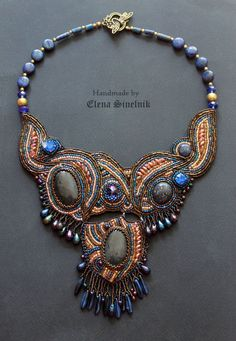 Embroidered Necklace Beadwork necklace   Beaded  necklace  Seed bead…