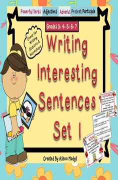 Writing Sentences Worksheets-Set 1 is a great resource to get kids interested in writing . It includes: 1. A Modeling Copy for Teachers in both Color Coded and Non Color Coded Options to Customise it for Different Needs. 2. Worksheets in four Different Contexts to Practice Creating Interesting Sentences for Students. 3. Anchor Charts to Review or Teach Nouns, Adjectives, Adverbs, and Verbs.