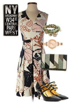 """dress"" by masayuki4499 ❤ liked on Polyvore featuring Ann Taylor, Bottega Veneta, Brahmin, Armani Exchange, BillyTheTree and Home Decorators Collection"
