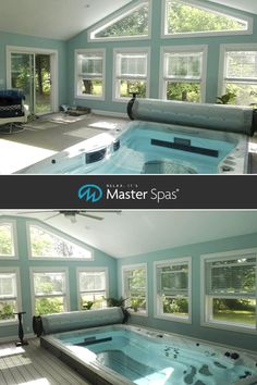 Swim year-round with a swim spa from Master Spas! It's perfect for fitness, family fun, and relaxing! It's a great indoor pool alternative! Plumbing Pipe Furniture, Plywood Furniture, 4 Season Room, Spa Branding, Spa Jets, In Ground Pools, Hotel Spa, Swimming Pools, Indoor Swimming