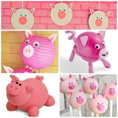 Like the simple pig circle pictures hanging down. Could make these with the kids