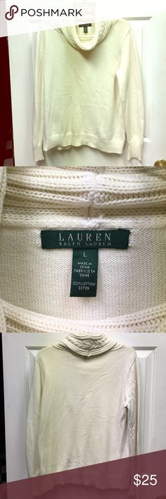 Ralph Lauren Beige Cowl neck sweater size L Very Pretty Ralph Lauren Beige Cowl neck sweater. Worn only once but has some slight pilling under the arms from just one washing. Shown in last photo. Size L. Otherwise in Excellent Condition, like every item that I sell there are No Holes, Stains or Funky Odors. Everything has been purchased by me at retail stores unless otherwise noted. Take Advantage and Bundle to save even more. Happy Poshing! Ralph Lauren Sweaters Cowl & Turtlenecks