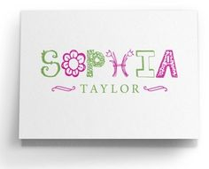 personalized folded note cards with jumbo whimsical name from luscious verde - Personalized Stationery Cards