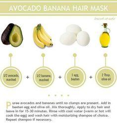 Banana Hair Mask, Banana For Hair, Natural Hair Tips, Natural Hair Styles, Long Hair Styles, Natural Beauty, Natural Skin, Avocado Hair, Avocado Egg