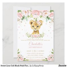 Sweet Lion Cub Blush Pink Floral Gold 1st Birthday Invitation 1st Birthday Invitations, Zazzle Invitations, Baby Shower Invitations, Invitation Ideas, Lion Baby Shower, Floral Baby Shower, Baby Shower Thank You Cards, Custom Thank You Cards, Lollipop Party