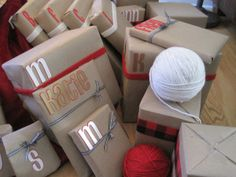 gift wrap. Christmas. DIY. yarn. ribbon. brown paper. wrapping paper.