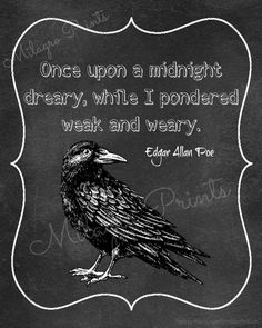 Edgar Allan Poe quote once upon a midnight dreary by MilagroPrints, $5.00