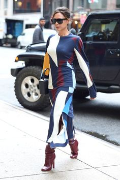 Spotted out in NYC, Victoria Beckham wore not one, not two, but three different looks. Get inspired here.