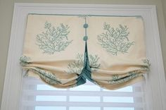 Modified balloon valance with contrasting pleat and buttons. Custom means fabric and design come together, this is perfect. Bathroom Window Treatments, Valance Window Treatments, Bathroom Windows, Custom Window Treatments, Window Coverings, Country Window Treatments, Rideaux Shabby Chic, Balloon Valance, Store Bateau
