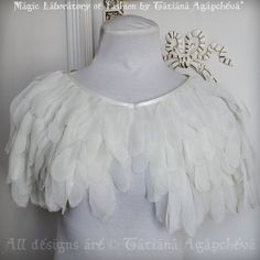 Ready to ship! OOAK! Chiffon Feathered Bridal Capelet/ Cape/ Shawl ODETTE(The main character from Swan Lake Ballet). OOAK Spring Summer 2014.  Beautiful