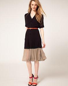 asos warehouse color block pleated midi dress