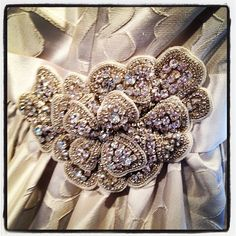 """Bling of the Day - crystal bridal sash on 'Regan' by Modern Trousseau"""