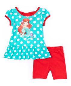 Look what I found on #zulily! Turquoise Disney Ariel Tank & Red Shorts - Girls by Ariel #zulilyfinds