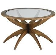 Henry Mid Century Modern Weathered Walnut Round Coffee Table - Small