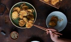 The recipe for a Korean feast of noodles, fritters, pickles and salad