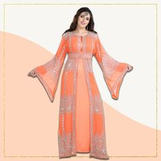 This Traditional Caftan Dress has been one of our most loved designs till date! The beautiful tomato shade and intricate hand embroidery work makes this outfit perfect for the summertime. Product no: 8175 Kaftan Abaya, Caftan Dress, Maxi Dress Wedding, Wedding Gowns, Traditional Dresses, Modest Fashion, Hand Embroidery, Lady, Womens Fashion