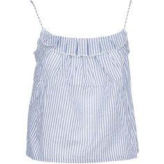 Frill Trim Vest Top (2.330 UYU) ❤ liked on Polyvore featuring tops, stripes, womenclothingtopwear, ruffle tanks, frill top, flutter-sleeve tops, striped tank and bellerose