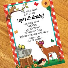 Forest Friends Personalized Invitations