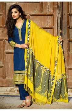 *Khaadi Winter Collection 2015-16- Blue with Yellow Embroidered Khaddar Dress (New)