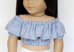 American Girl doll sized Tutti Frutti cropped top - blue and white stripes by EverydayDollwear on Etsy