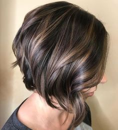 Shiny Wavy Brunette Bob—love the cut & color!!