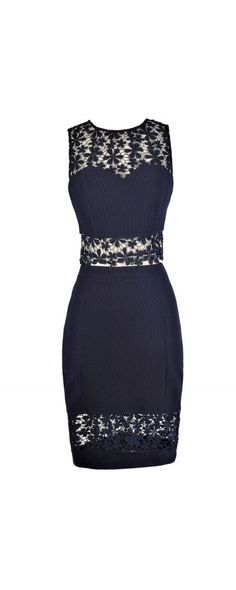 Crochet Lace Two Piece Top and Skirt in Navy  www.lilyboutique.com