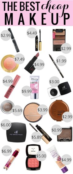 The Best Cheap Makeup - 18 of the best cheap makeup products, all under $10!! Pin this and use it the next time you're out shopping :)