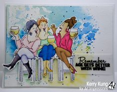 Art Impressions Rubber Stamps: Ai Girlfriends:  Wine Tasters set (SKU# 4383) ... handmade card.