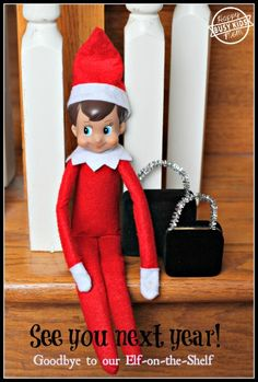 Day 24 - Goodbye to our Elf on the Shelf.  See you in 2014! His suitcases are old jewelry boxes with sparkly pipe cleaner handles.