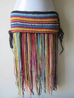 Crochet  hip belt, Fringe hip belt, festival clothing, fringe skirt,  gypsy, tribal dancing, belly dancing, overlay skirt