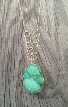 Green Druzy Necklace with Gold filled chain and by joydravecky