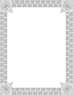 Printable henna border. Use the border in Microsoft Word or other programs for…