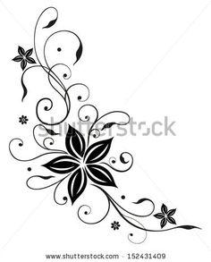 Illustration about Black flowers illustration, tribal tattoo style. Illustration of design, decoration, curled - 33938839 Body Art Tattoos, Tribal Tattoos, Sleeve Tattoos, Tatoos, Geometric Tattoos, Geometric Pattern Tattoo, Pattern Tattoos, Paisley Pattern, Honeycomb Pattern