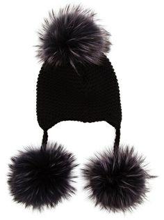 INVERNI - Cashmere Beanie with Fox Fur Pom Pom 5