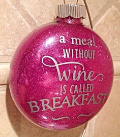 Wine Christmas Ornament Pink Glitter - pinned by pin4etsy.com