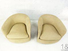 Milo Baughman for Thayer Coggin Barrel Swivel Tilt Lounge Chairs ...