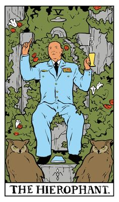 "The Hierophant Twin Peaks tarot card by Benjamin Mackey. ""My vision ended and I awoke with a tremendous feeling of optimism and confidence in you and your future."""