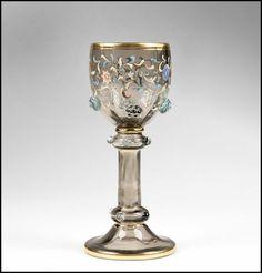 bohemian wine glasses | Art Nouveau Bohemian Theresienthal Glass 7 Piece Enamel Wine Set