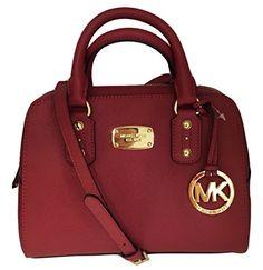 Michael Kors Small Satchel Scarlet Red Saffiano Leather  Handbags  Amazon .com bc99ab708f93