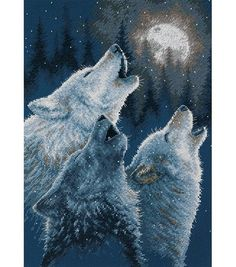 Three wolves howling at the moon cross stick pattern from Joann fabrics website.