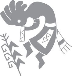 Glass etching stencil of Flute player. In category: Culture, Native American, Western