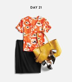 Perfect!!! The blouse is pretty pattern and color, the purse color is amazing, also like the size and color combo on it. Could wear them with anything, why not with that skirt. :)