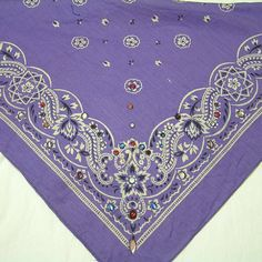1980s Bandana Purple Cotton Scarf with by VictorianWardrobe