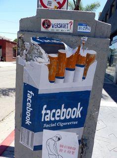 Street art | Graffiti | Facebook | Cigarettes | Tobacco | Addiction | Social media | Internet | Online | Consumerism | Source: http://blog.globalstreetart.com/
