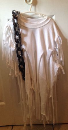 Toddler GHOST costume from 2 men's tshirts ... Cut bottom stitch off and cut up over and over  Add dollar store chain :)