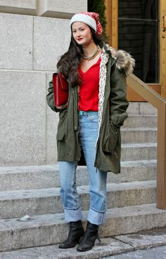 Winter Outfit Ideas From New York Fashion Week Fall 2013.  Outfit Idea: Pair denim, army green, and red