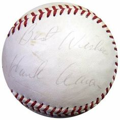 "Hank Aaron Best Wishes Autographed MacGregor Baseball PSA/DNA #J49231 . $109.00. This is a MacGregor Official Dixie Youth Baseball that has been hand signed by Hank Aaron. He also inscribed this baseball with ""Best Wishes"". The autograph has been authenticated by PSA/DNA. It comes with their hologram sticker and matching certificate."