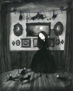 Ars Memoria Gallery — Companions of the Night by Sophia Rapata Arte Horror, Horror Art, Pretty Drawings, Art Drawings, 8bit Art, Arte Obscura, Creepy Art, Gothic Art, Dark Fantasy Art