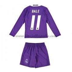 Real Madrid Lasten Jalkapallo Pelipaidat 2016-17 Bale 11 Vieraspaita Pitkähihainen