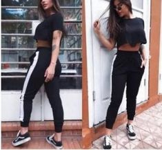 Calça Feminina Jogger c/ Listra branca lateral. Urban Outfits, Casual Outfits, Fashion Outfits, Womens Fashion, Urban Apparel, Looks Adidas, Model Outfits, Weekend Outfit, Daily Look